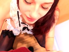 Asian babe Mayu Nozomi in cheerleader uniform gives blowjob