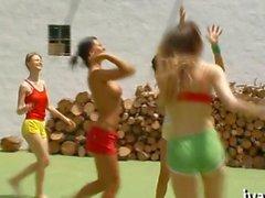 Kinky teens play ball and strip