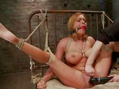 Bound Krissy Lynn gets her moist juicy clit tormented