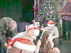 Den 8 pervers gamla män Bang siliconed Santa kvinna
