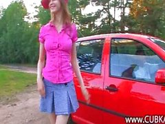 Hot chick making love in the car