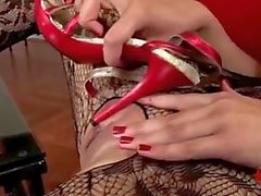 Girl Rubs Pussy With Red Sandals - Heel in Pussy HeelsLovers@Pornhub