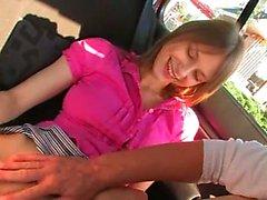 Fingering my girlfriends vagina in a car