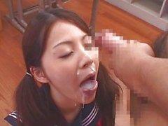 Japanese girl cum play and bukkake