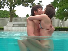 Asian Teen creamed at the pool