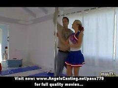 Cute cheerleader exercising and flashing panties and doing blowjob