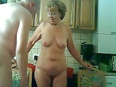 Granny & hubby have fun in the kitchen