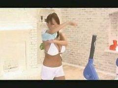 Asian Japanese AV teen model Hitomi Tanaka gets bouncy in the gym