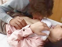 Asian Girl Getting Her Nipples Sucked Licked Fingered On The Bed