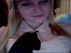 blonde teen fisting her cunt on the webcam