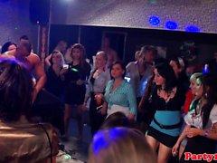 Euro amateur gets bottle in pussy on dancefloor