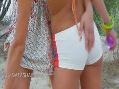 Russian cheerleaders toying on the beach