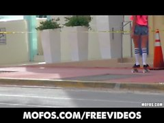 Beautiful Skater chick is picked up in public and pounded hard
