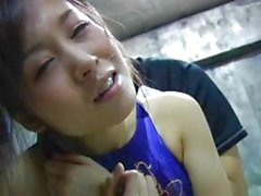 Japanese cheerleader with big boobs gets fingered and licked