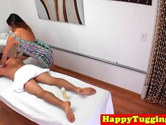 Thick asian masseuse wanking client on spycam