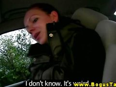 Euro babe tugging cock in public so she can fuck him