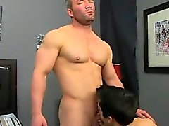Hot gay He gets on his knees and fellates Brock's fuck-stick