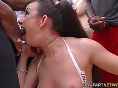 Jennifer white chokes and gags on dark ramrods