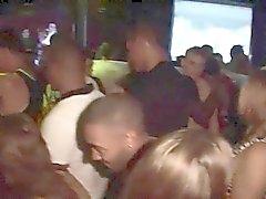 Kinky bimbos grind against cocks in public