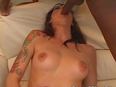 Hot Brunette Sucked A Big Black Cock And Get