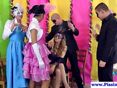 Masked pissdrenched babes in orgy party