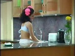 Teen brunette fucked in the kitchen