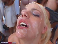massive bukkake on her beautie face