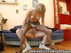 Hot amateur Milf masturbates, sucks and fucks with cum