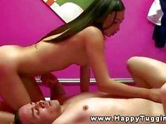 Asian masseuses riding customers dick