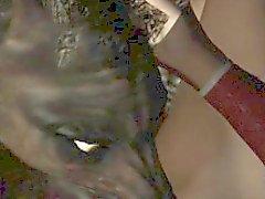 3D di del Brunette leccata e scopata da un lupo mannaro