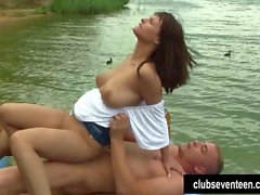 Busty teen Rita gets nailed outdoors
