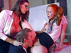 Big boobs Prof and schoolgirl threesome