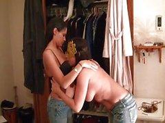 Fisting lesbians soak the bed