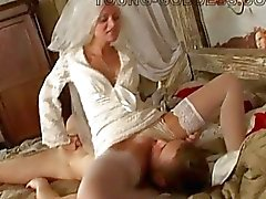 Horny bride dominates over her new hubby