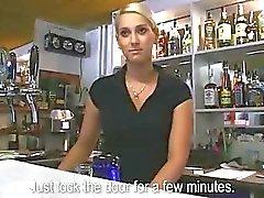 Big tits amateur bartender payed fucking
