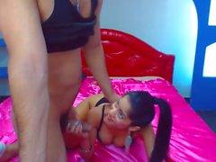 Sexy Petite Babe Sucks and Rides Big Cock