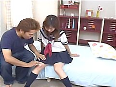 Japanese schoolgirl Hina Kawai gets her pussy played with before she blows