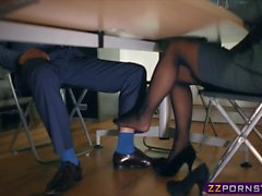 Pantyhose office bitch footplay ends in a good fuck