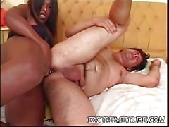 Black bitch pounding guy ass