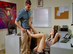 Young brunette secretary Kimberly Kane rubs his crotch with her feet and gets banged
