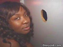 Black Girl Gives Interrcial Blowjob At Glory Hole