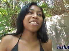 Kinky interracial session with an ebony teenager