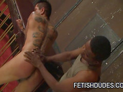 Fetish dude Dirty Dee spanking Max Sanchez's ass
