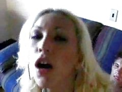 Skinny blonde gets drilled hard on sofa