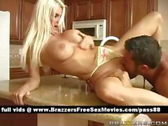 Super sexy blonde slut on the kitchen table gets a blowjob