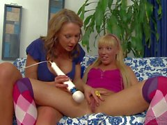 Teen Ally Kay spreads for milf and her husband
