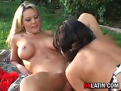 Lesbian Threesome Outside