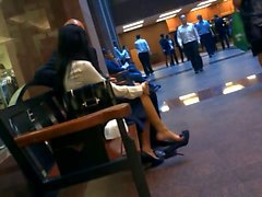Candid Asian Business Lady Feet Shoeplay Dangling in Pumps