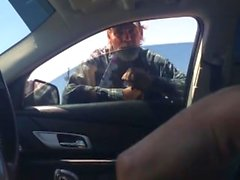 Homeless Guy Watches Stud Cum in Driver's Seat