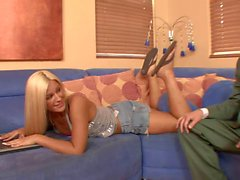 Kinky dude licks hot blonde's foot before they fuck